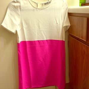 Pink & White Cocktail Dress — Size XS